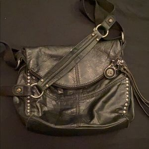 The sack real leather cross body purse black